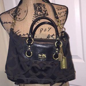 Coach Handbag Mini Satchel Black Leather Trim Bag
